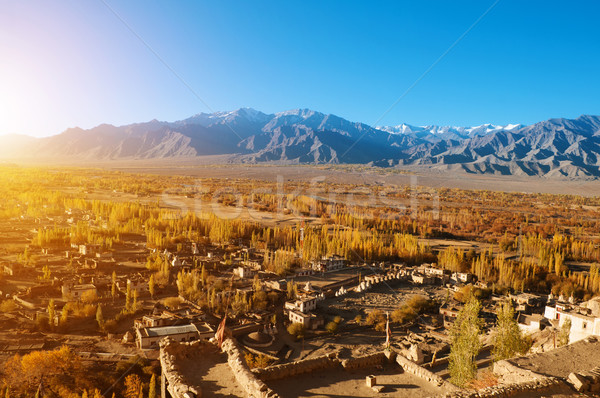 Pequeno aldeia belo nascer do sol árvore edifício Foto stock © szefei