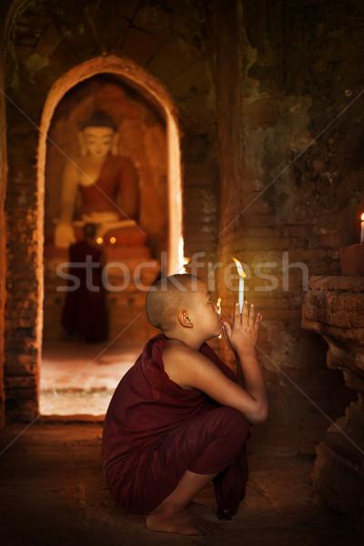 Buddhistisch beten Kloster Porträt jungen Anfänger Stock foto © szefei