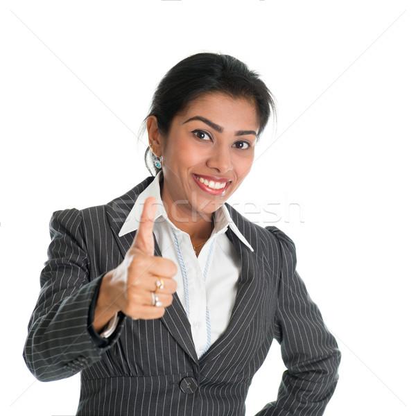 Black businesswoman thumb up Stock photo © szefei
