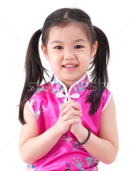 Kicsi távolkeleti lány kínai fiatal lány hagyományos Stock fotó © szefei