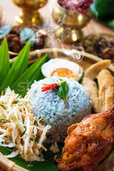 Traditional Malaysian food nasi kerabu Stock photo © szefei