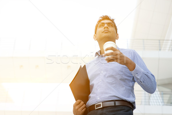 Business people, file folder and hot coffee cup Stock photo © szefei