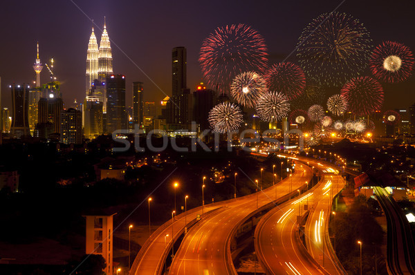 Kuala Lumpur şehir havai fişek Malezya gece Stok fotoğraf © szefei