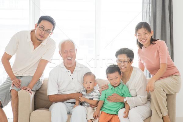 Heureux générations portrait de famille asian maison de famille portrait Photo stock © szefei