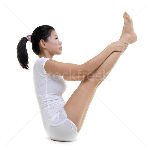 Jóga nő dupla lábujj tart test Stock fotó © szefei