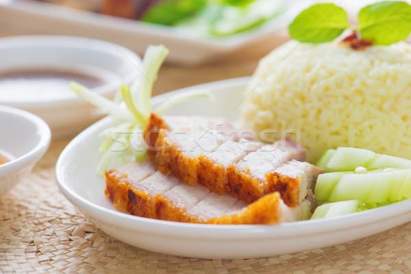 Siu Yuk or crispy roasted belly pork Chinese style Stock photo © szefei