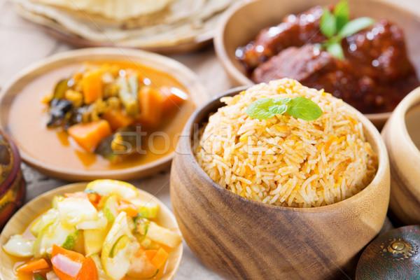 Arroz fresco cozinhado basmati delicioso culinária indiana Foto stock © szefei