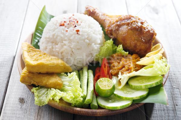 Népszerű indonéz helyi étel híres hagyományos Stock fotó © szefei