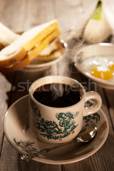 Traditional Malaysian Hainan coffee and breakfast Stock photo © szefei