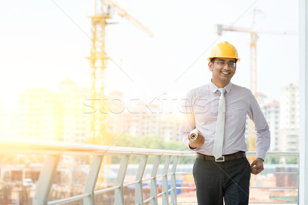 Asian Indian male site contractor engineer walking Stock photo © szefei