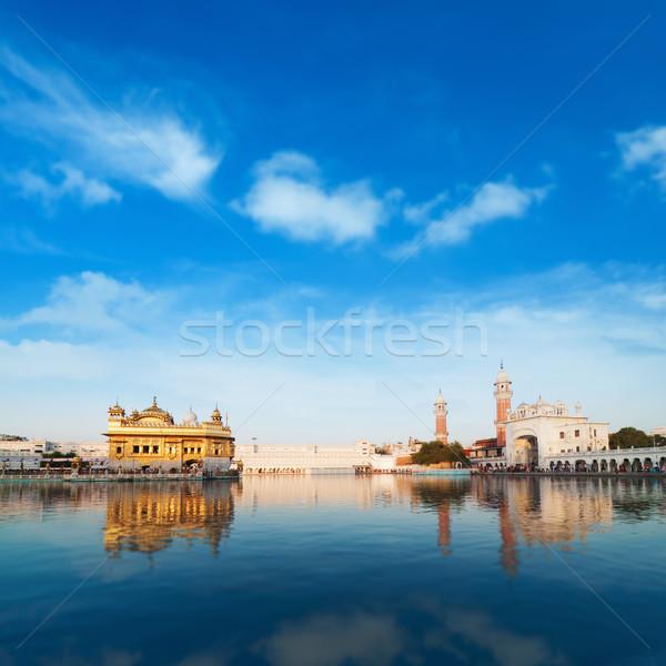 Arany templom India nappal kék ég égbolt Stock fotó © szefei