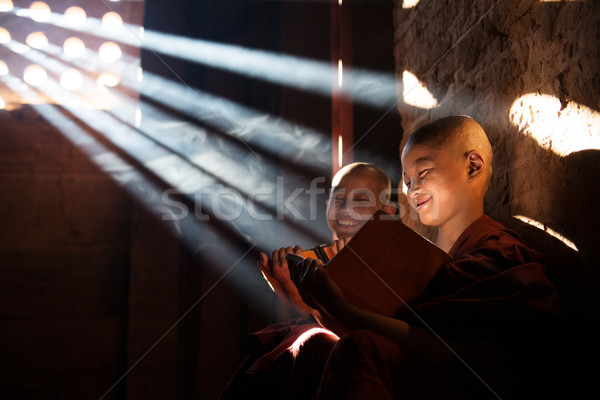 Young Buddhist novice monks reading Stock photo © szefei