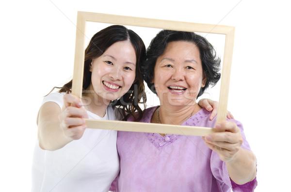 母親 娘 フォトフレーム 肖像 アジア シニア ストックフォト © szefei
