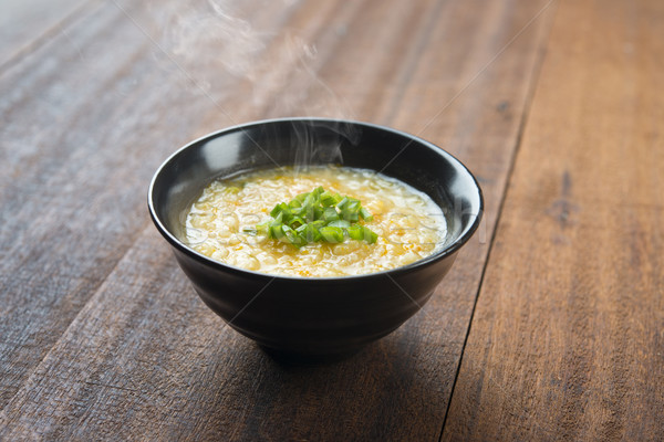 Rizs tál ázsiai stílus fa asztal tavasz Stock fotó © szefei