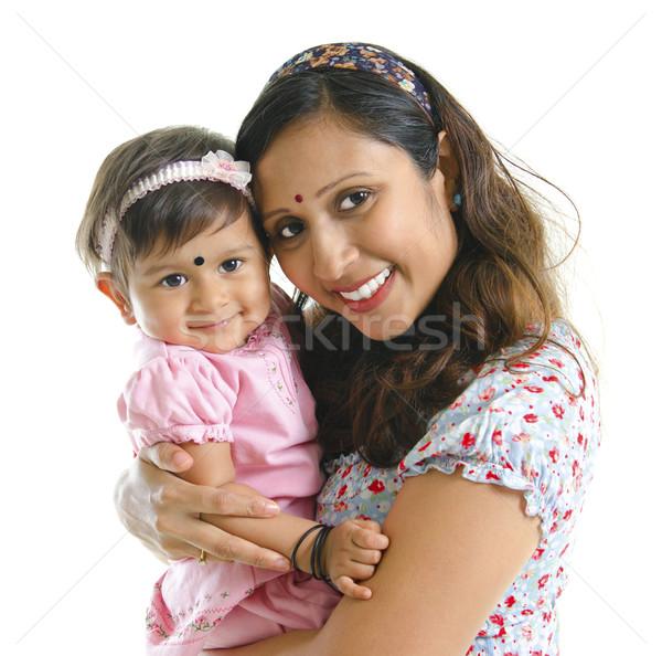 современных индийской матери дочь счастливым Сток-фото © szefei