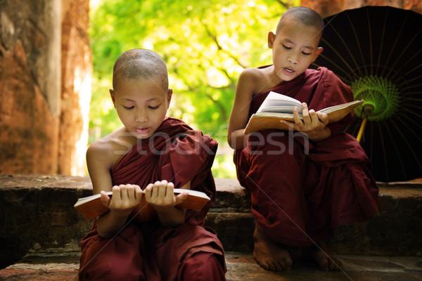 Мьянма мало монах чтение книга за пределами Сток-фото © szefei