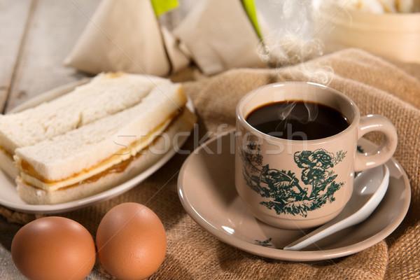 Hagyományos szingapúri kínai sötét kávé reggeli Stock fotó © szefei