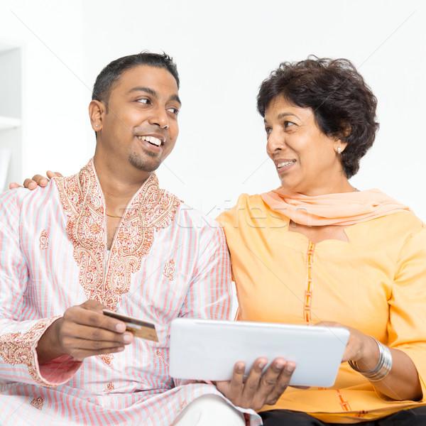 Stockfoto: Indian · familie · online · internet · betaling · portret