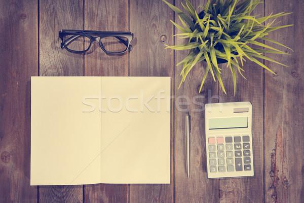 Stockfoto: Top · werkplek · werkruimte · boekje