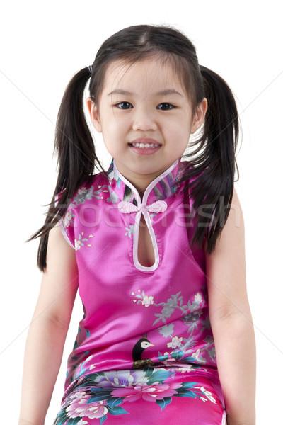 Wenig orientalisch Mädchen traditionellen chinesisch Kleid Stock foto © szefei