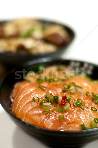 Japoński sashimi ryżu stylu surowy łososia Zdjęcia stock © szefei