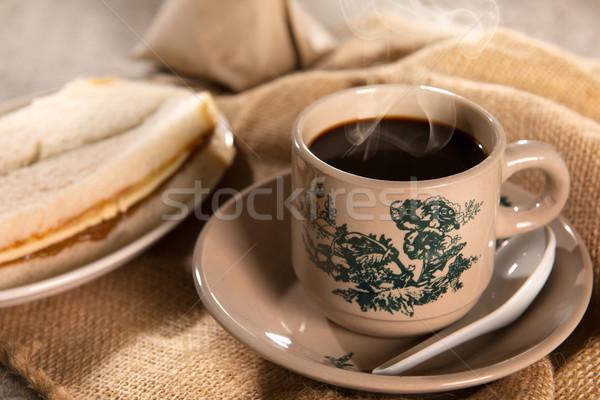 Traditional Malaysian Chinese dark coffee and breakfast Stock photo © szefei