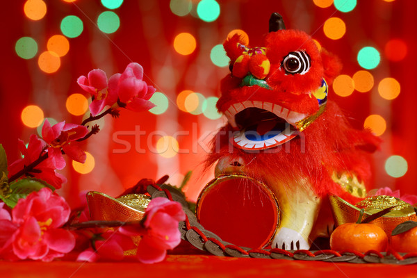 Chinese New Year design in red background Stock photo © szefei