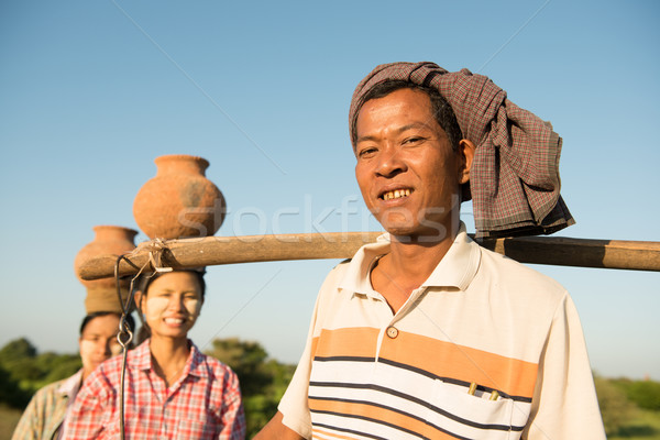Group Asian Burmese traditional farmers Stock photo © szefei