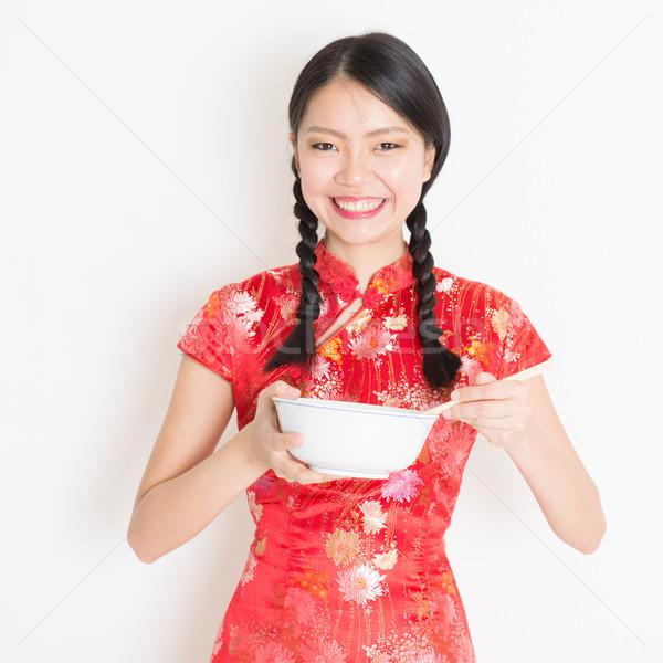 женщины красный еды палочки для еды портрет Сток-фото © szefei