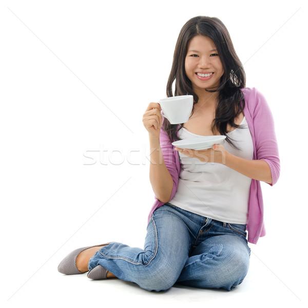 アジア 女性 飲料 茶 カップ ストックフォト © szefei