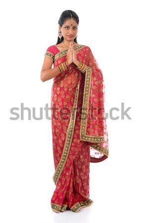 Indian ragazza saluto posa tradizionale costume Foto d'archivio © szefei