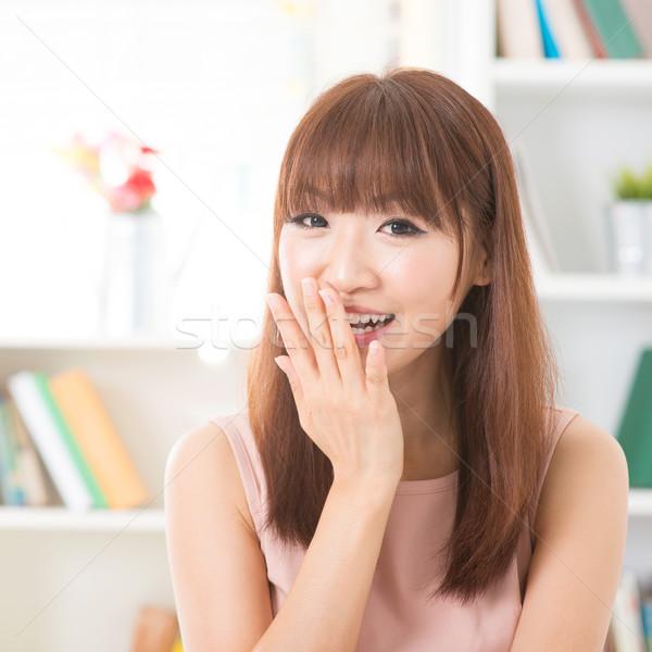 ázsiai lány mosolyog portré boldog nevet Stock fotó © szefei
