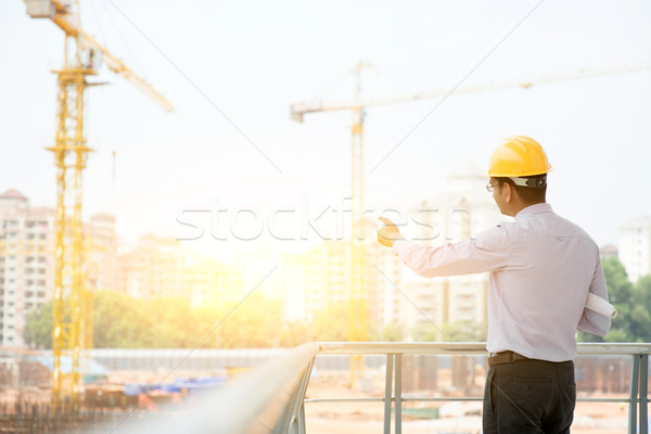 Asian Indian male site contractor engineer Stock photo © szefei