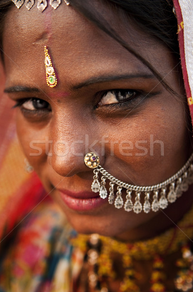 Indiai nő portré India nő lány menyasszony Stock fotó © szefei