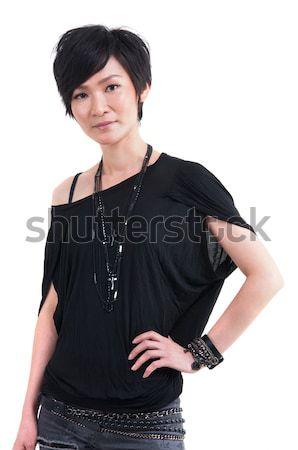 Kurze Haare cool Mädchen isoliert Mode rock Stock foto © szefei