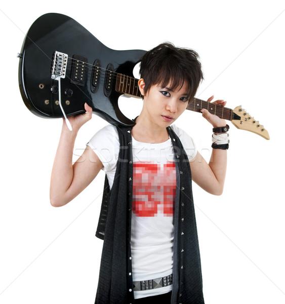 Asian guitare isolé blanche mode Photo stock © szefei