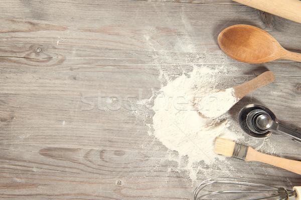 Сток-фото: инструменты · копия · пространства · мнение · деревянный · стол · Vintage