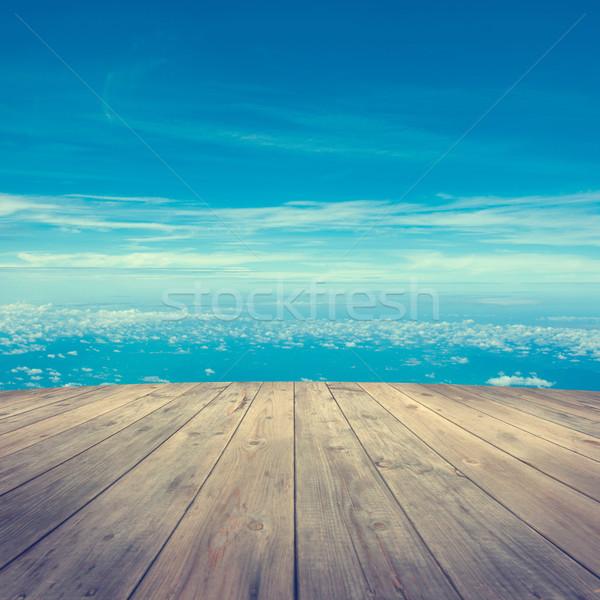 木製 プラットフォーム 空気 日の出 青空 ストックフォト © szefei