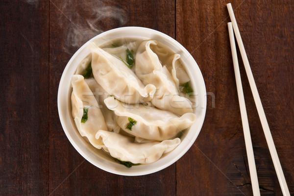 Top view Asian meal dumplings soup  Stock photo © szefei