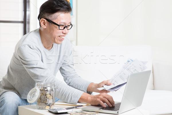 Fizet számlák online számítógéphasználat portré 50-es évek Stock fotó © szefei