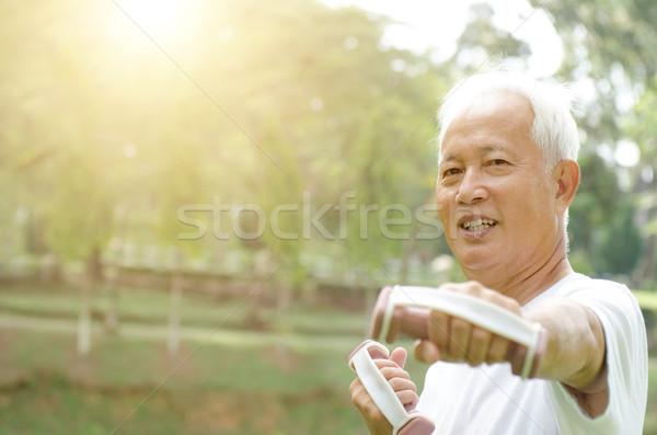Asia ancianos ejercicio aire libre retrato saludable Foto stock © szefei