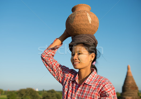 Portrait of Asian traditional female farmer Stock photo © szefei
