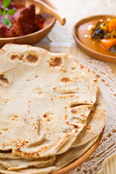 Kenyér indiai étel búza liszt tyúk hús Stock fotó © szefei