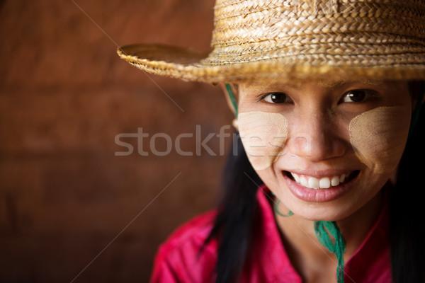 голову выстрел Мьянма девушки портрет красивой Сток-фото © szefei