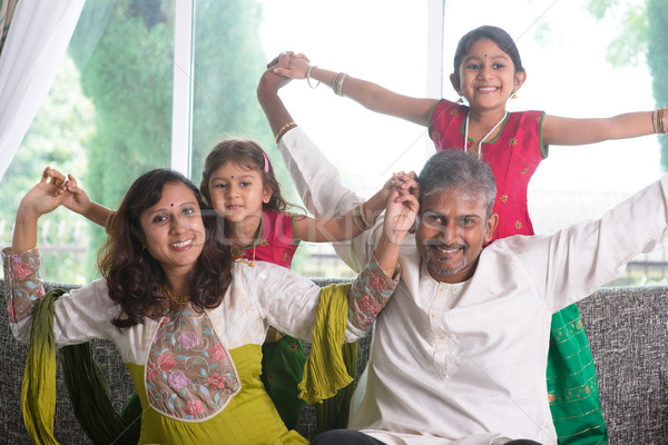 Stock photo: Happy Indian family at home