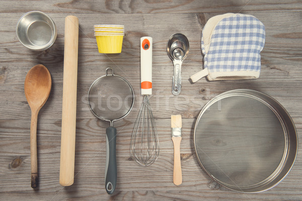 Various baking tools arrange from overhead view  Stock photo © szefei