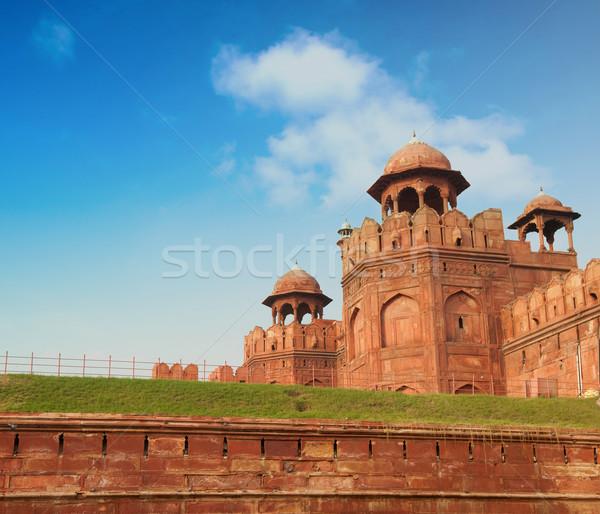 Rood fort Delhi Indië hemel Stockfoto © szefei