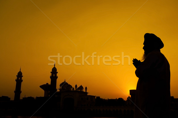 Silhouette of Sikh prayer Stock photo © szefei
