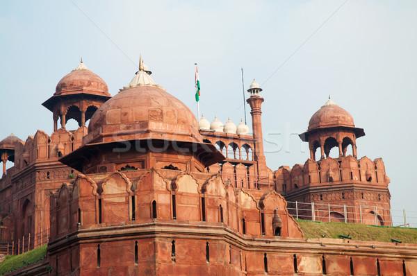 Rosso fort Delhi India costruzione muro Foto d'archivio © szefei