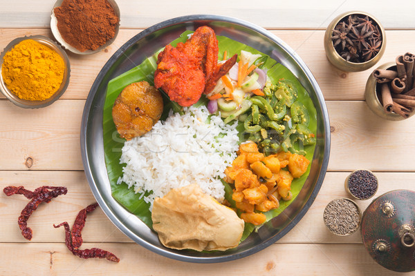 Overhead view of Indian mixed rice Stock photo © szefei